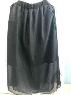 (100% New) 黑色雪紡長裙