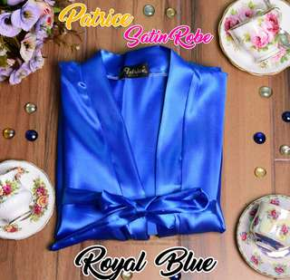 Royal Blue Satin Robe