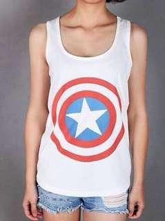 [Makassar] captain america white tank top