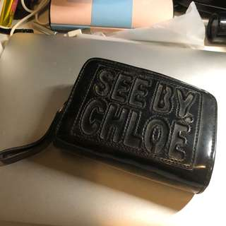 See by Chloe black patent leather wallet purse 黑色 漆皮 銀包