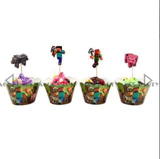 Minecraft party supplies - cupcake toppers and wrappers / party deco