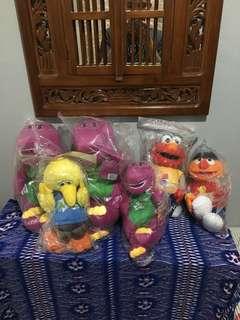 Sesame street and barnie soft toys