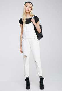 White distressed overalls