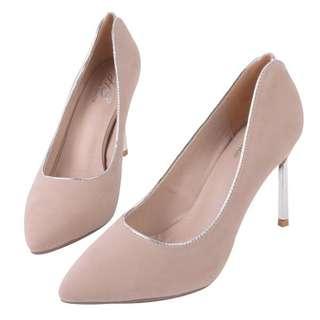 🚚 轉賣 Home Shop 金屬鑲邊細跟鞋 高跟鞋 裸粉色 麂皮 轉賣