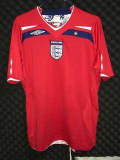 英格蘭🏴08/10 作客 England away soccer football shirt jersey 波衫 足球服 Umbro Beckham Owen Scholes Gerrard Rooney