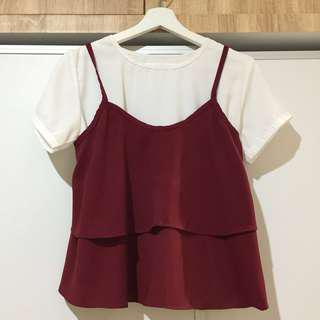 White with Maroon Outer Top