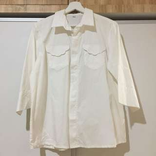 White Shirt with Scallop Pockets