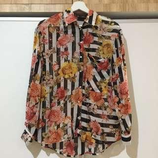 Zara Floral Stripes Shirt