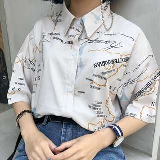 World Map Button Down Shirt.Street Shirt Women S Fashion Clothes Tops On Carousell