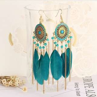Mbohemain feather tassel earings