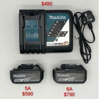 紅M 牧田Makita 5A6A 電池及 9A快充電器