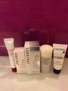 Sample Shiseido Ibuki, Shiseido Ultimune, Lancome UV Expert