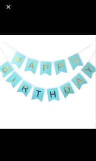 Happy birthday gold font bunting