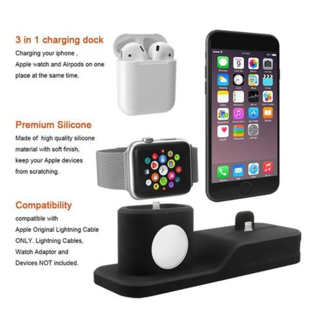 size 40 f5cc6 be6cd 3 IN 1 CHARGING DOCK HOLDER FOR IPHONE X IPHONE 8 IPHONE 7 IPHONE 6  SILICONE CHARGING STAND DOCK STATION FOR APPLE WATCH AIRPODS