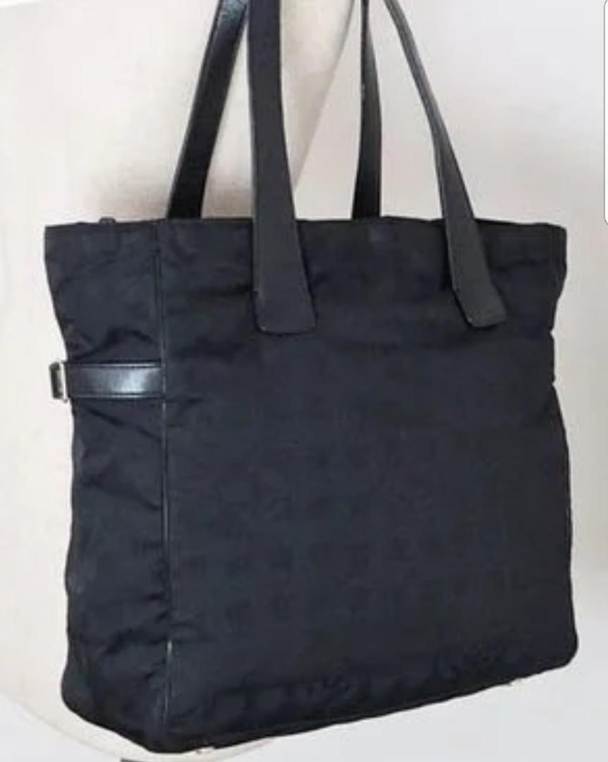 Authentic Chanel Black Nylon CC Logo Travel Line Large Tote Bag ... 39e7d27f741e9