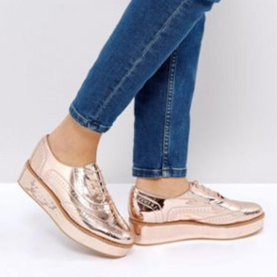 BRAND NEW ASOS MACAROON FLATFORM LACE UP SHOES (NUDE