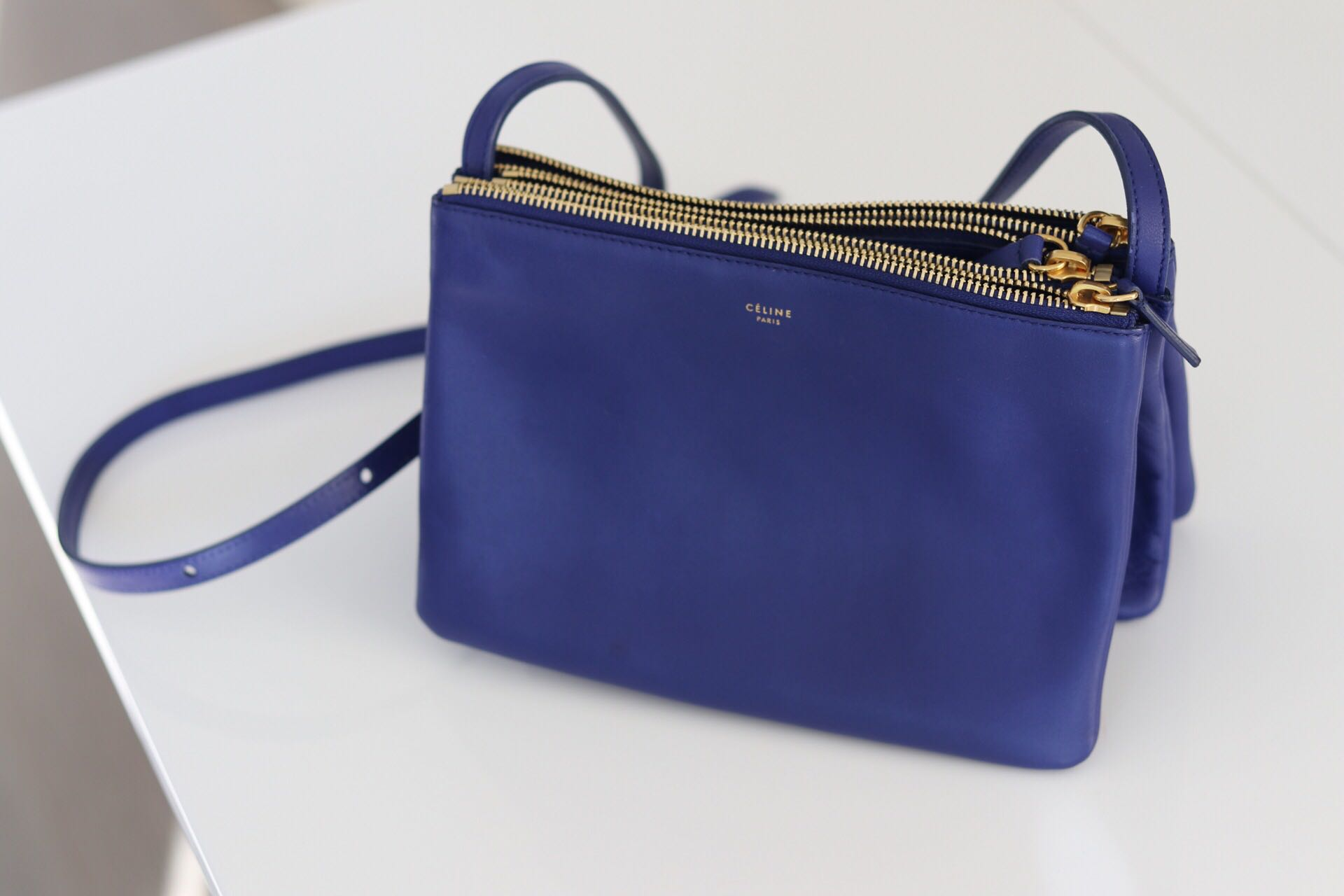 3e3b7c047 Celine Trio Bag in Blue (Small), Women's Fashion, Bags & Wallets on  Carousell