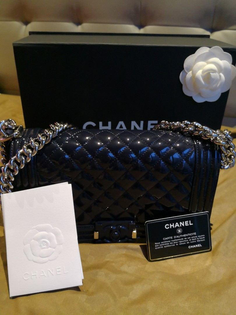 76d503cc8edd Chanel Boy Old Medium Patent Blue