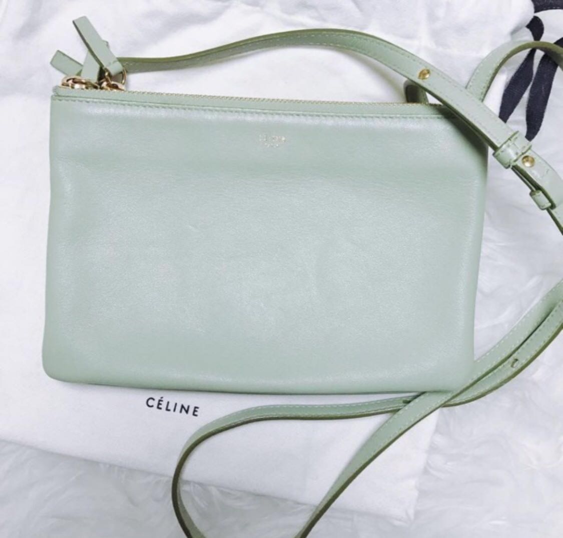 dcae7c6b35 Crazy Price dropped!!Celine Trio Mint green small gold toned top zip ...
