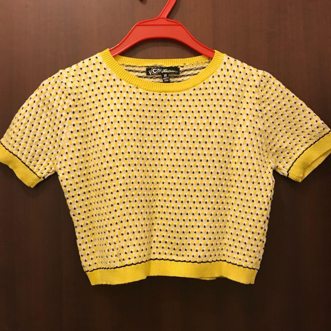 Cute Crop Top Yellow Knitted