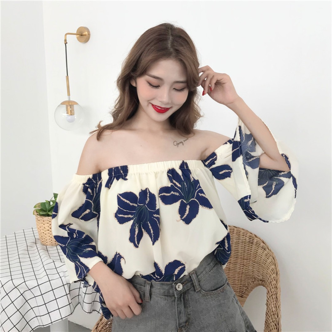 13f669f9c36 Floral chiffon off shoulder blouse, Women's Fashion, Clothes, Tops ...