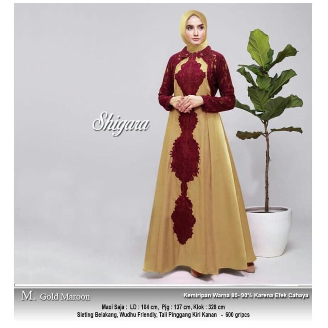 Gamis Pesta Mewah Shigara Gold Maron Women S Fashion Muslim