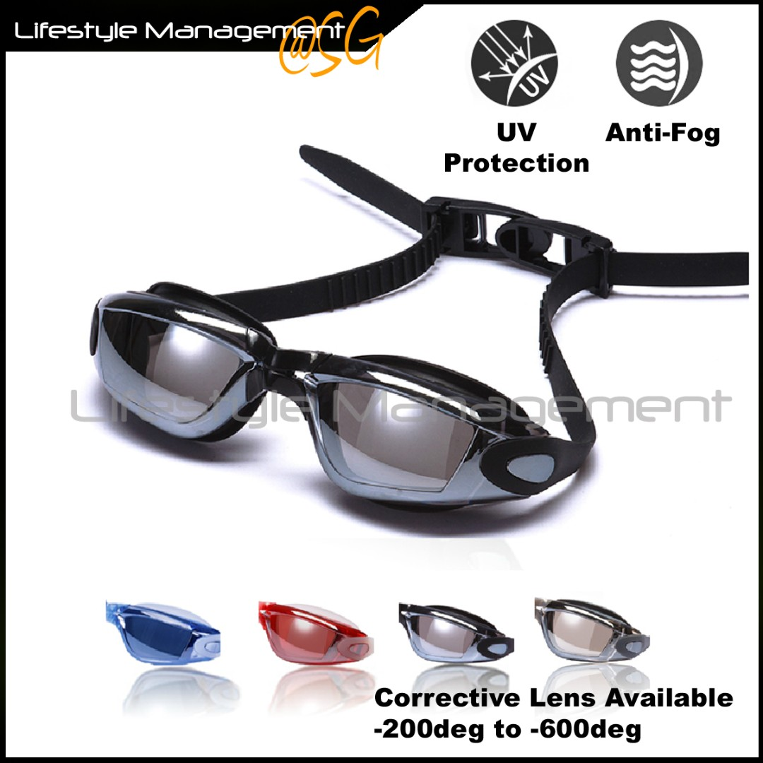 1cae51c7a8 Swimming Goggles Myopia Corrective Lens Anti-fog UV Protection ...