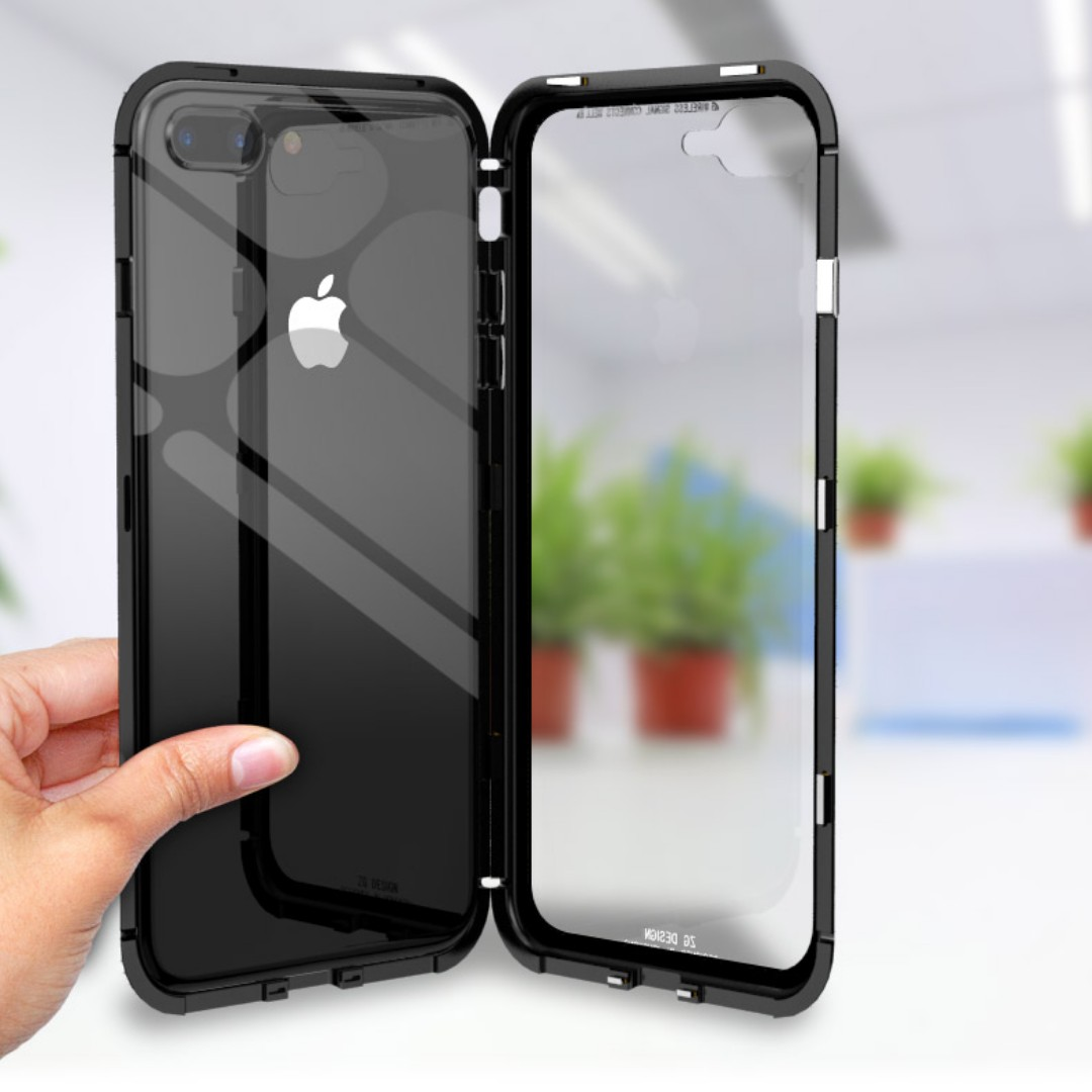 the latest 6bdc9 deccb Iphone X/8/8+/7/7+ Magnetic Aluminum Case w Glass Back