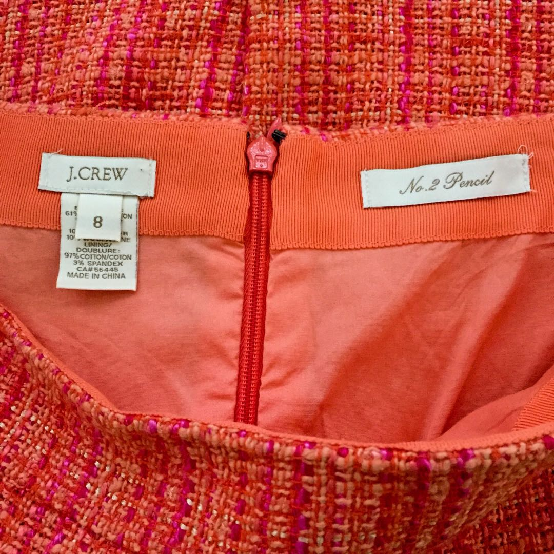 2555b9c666 Auth J CREW No. 2 Pencil Skirt 79134 Orange Red Neon Tweed US 8 EUC,  Luxury, Apparel, Women's on Carousell