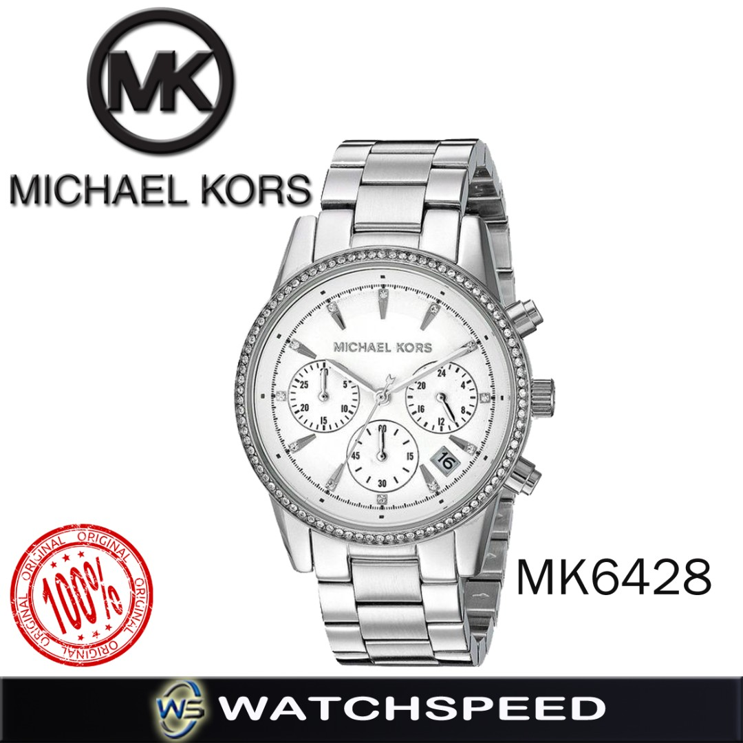 9b1eac49bf4d Michael Kors Chronograph Ritz Stainless Steel Bracelet Ladies Watch ...