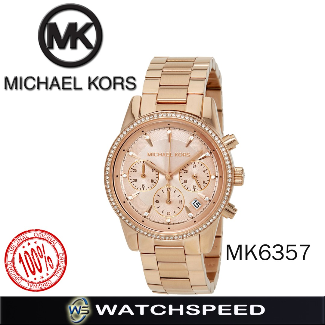 fbb55724a13 Michael Kors Ritz Crystal Rose-Tone Stainless Chronograph Ladies ...