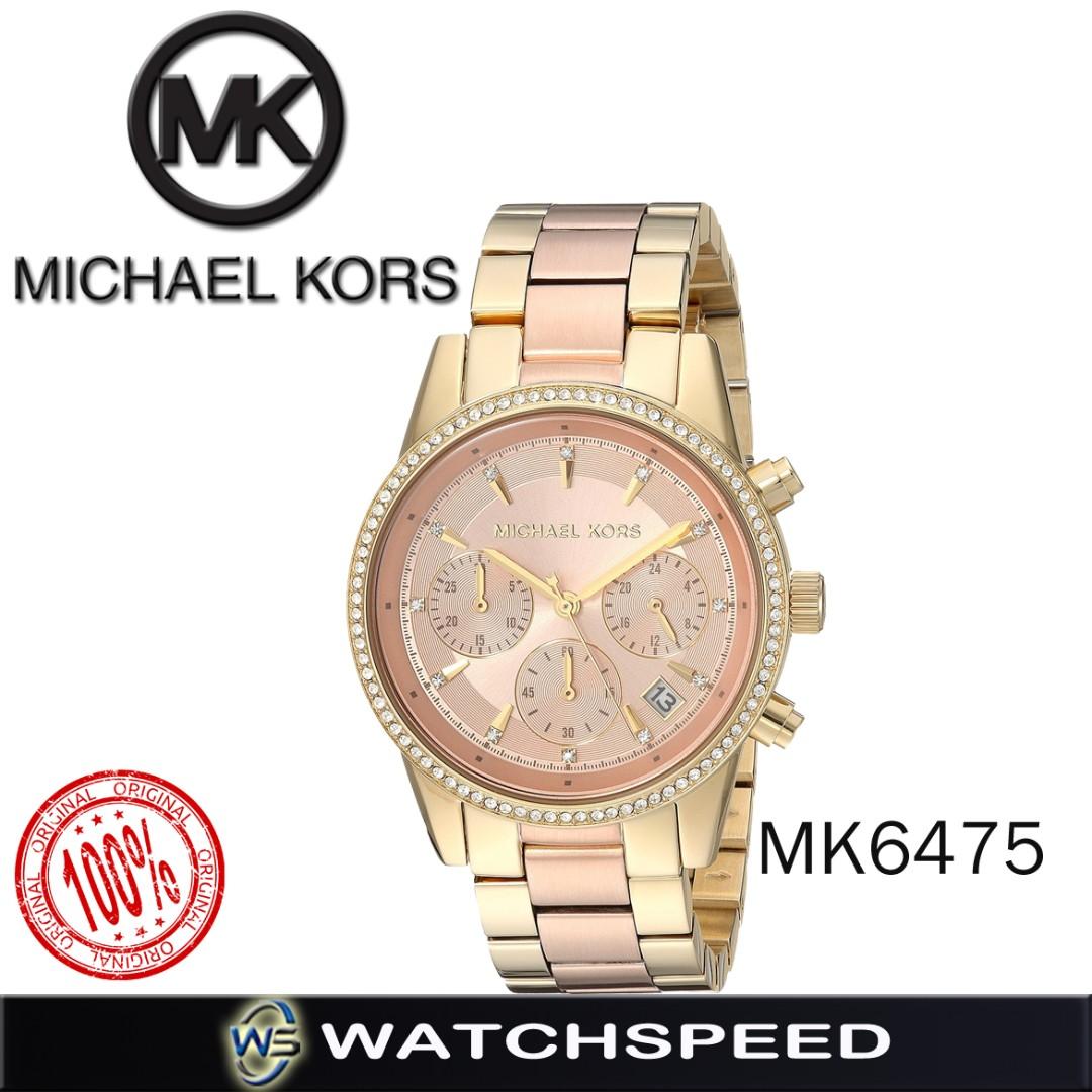 7b63348f7ccd Michael Kors Ritz Rose Gold Dial Chronograph Ladies Watch MK6475 ...