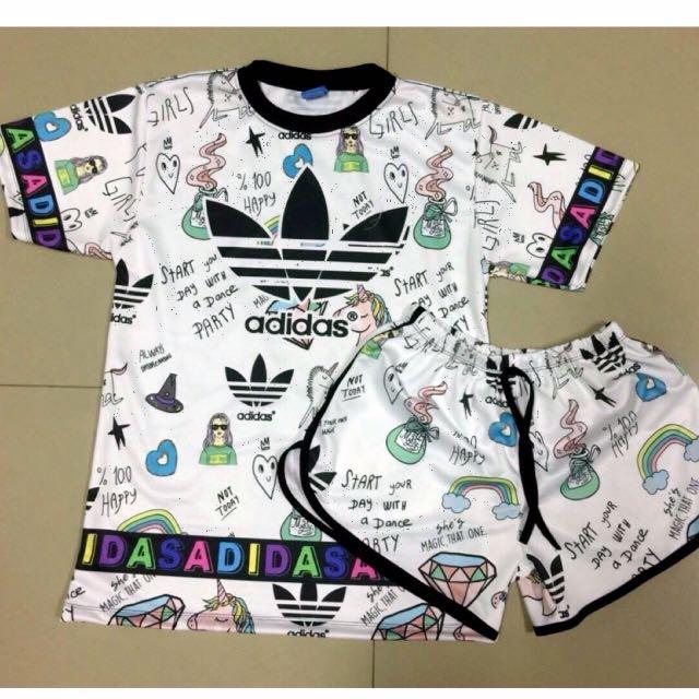 ae8b2f19ea6 Plus size Adidas white Set ( Top+ shorts)