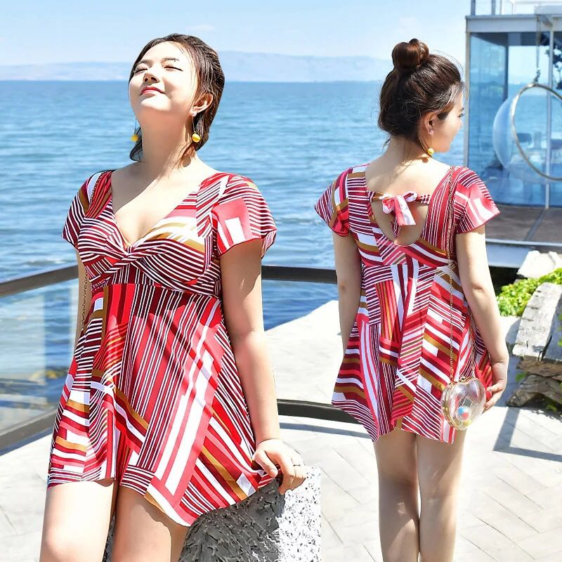 2c15928132c Plus Size Geometric Print V Neck Skater Dress Swim Wear, Women's ...