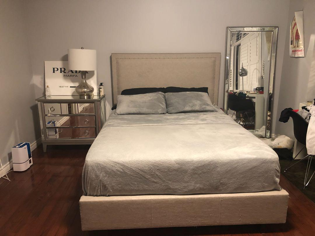 Queen size bed with frame and slats for sale
