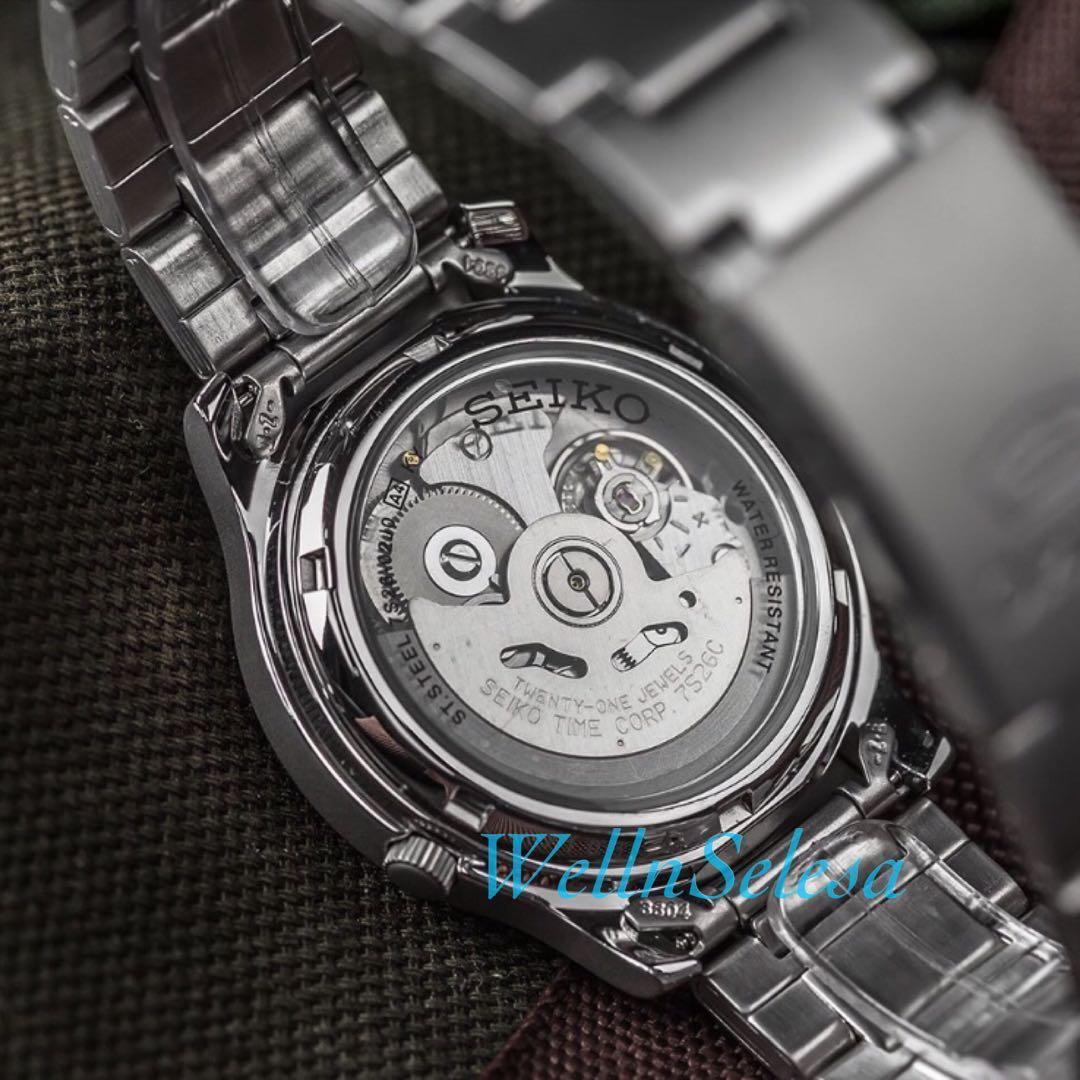 Seiko 5 Automatic Jam Tangan Starp Nylon Green Military Ssa299k1 Sport Pria Otomatis Hijau Putih Watch Snk809 Fesyen Lelaki