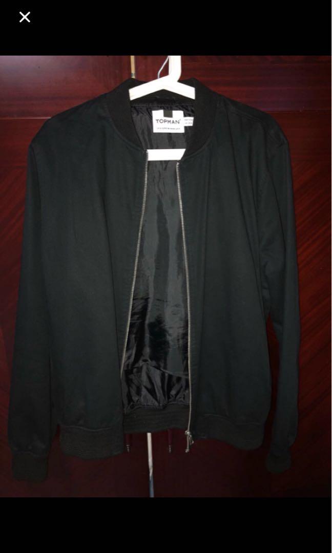 f7f9d8298 Topman Black Bomber Jacket size M