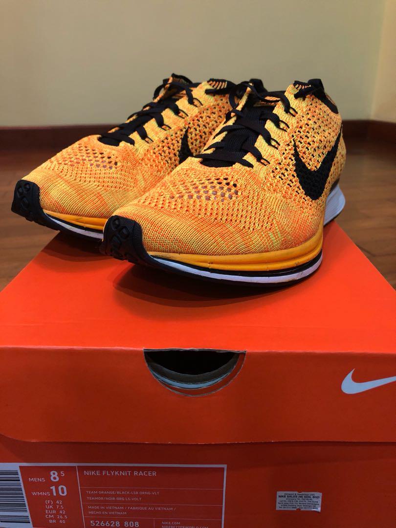 100% najwyższej jakości sprzedaż usa online bliżej na US8.5 Nike Flyknit Racer Team Orange, Men's Fashion ...