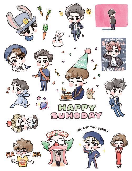 want to share// exo suho fanart stickers by @yummkim