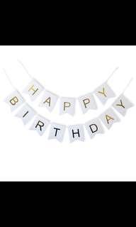 Happy birthday gold font bunting