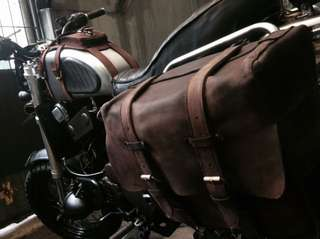 Bike bags leather custom harley royal enfield triumph