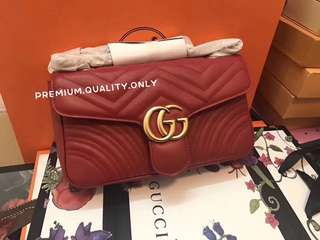 Gucci Marmont Flap Bag - Red