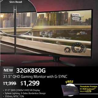 "LG 32GK850G 31.5"" QHD Gaming Monitor with G-SYNC.  ( Offer Till...15 Aug 2018..Ends )"