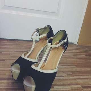 Black And Beige Heels
