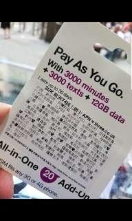 3UK 上網卡 數據卡 漫遊卡 歐洲上網卡 旅遊卡