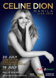Celine Dion Gen Ad and Upperbox tickets