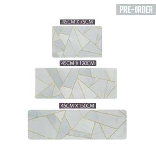 [PO] Blue Gold Geometric Kitchen Floor Mat