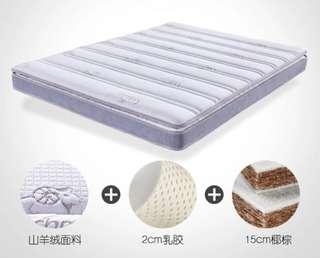 (全新) Fada 乳膠/椰棕雙面可睡 面料可折洗床褥