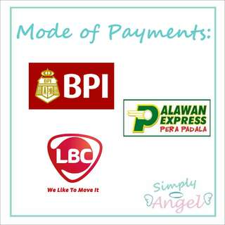 MODES OF PAYMENT! ❤