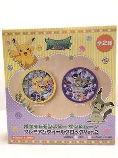 全新日本景品 寵物小精靈 pokemon 特大掛牆鐘